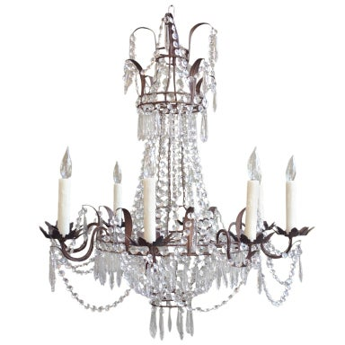 Beautiful 1910/1920s Italian Crystal and Tole Chandelier