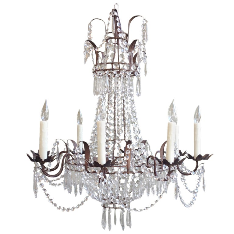 Beautiful 1910/1920s Italian Crystal and Tole Chandelier 1