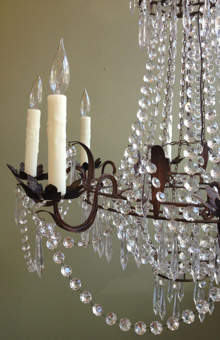 Beautiful 1910/1920s Italian Crystal and Tole Chandelier 2