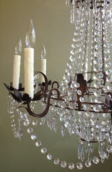 Beautiful 1910/1920s Italian Crystal and Tole Chandelier image 2