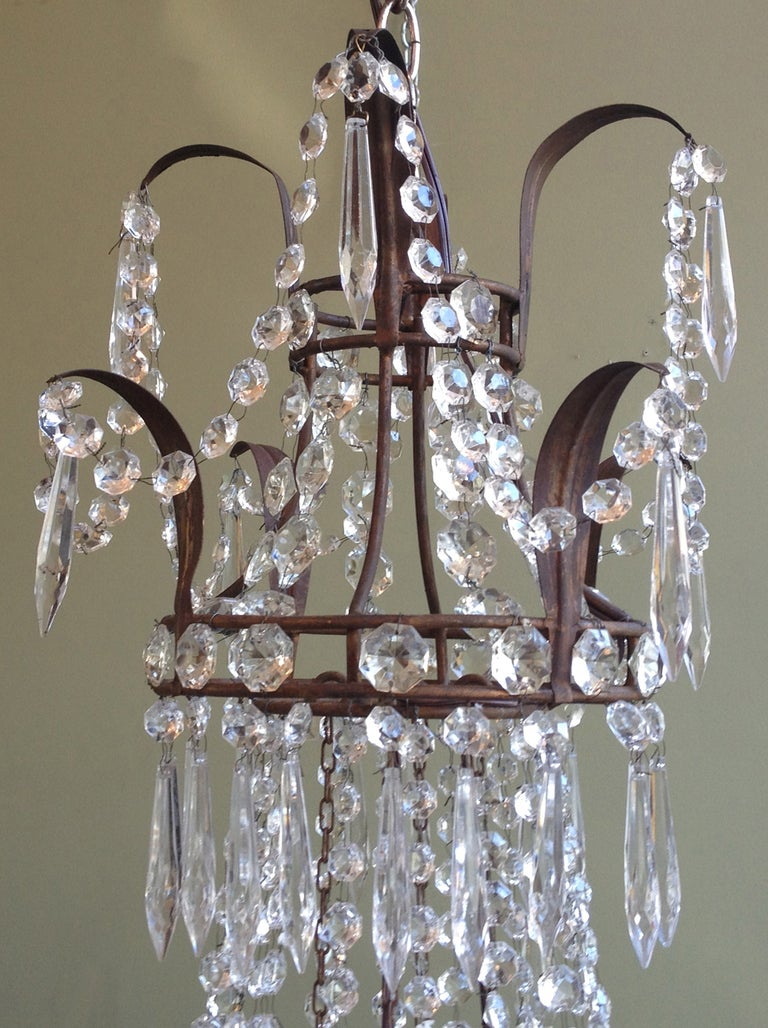 Beautiful 1910/1920s Italian Crystal and Tole Chandelier 3