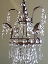 Beautiful 1910/1920s Italian Crystal and Tole Chandelier image 3