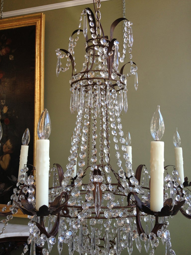 Beautiful 1910/1920s Italian Crystal and Tole Chandelier 4
