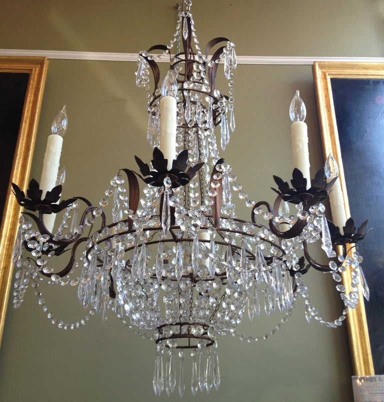Beautiful 1910/1920s Italian Crystal and Tole Chandelier 5