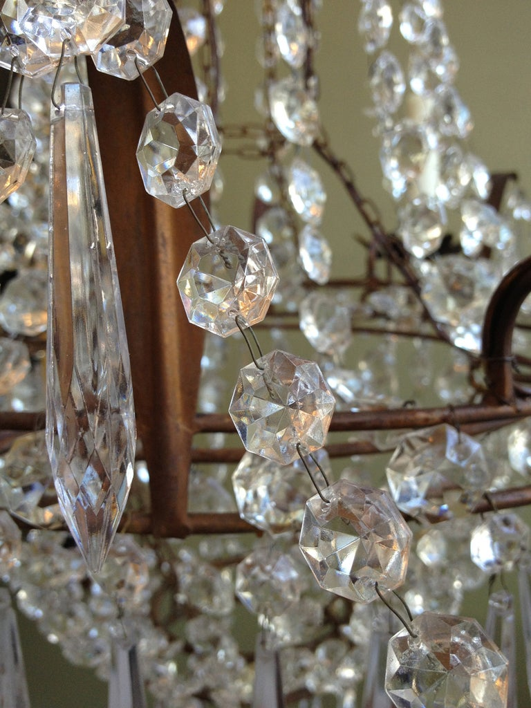 Beautiful 1910/1920s Italian Crystal and Tole Chandelier 6