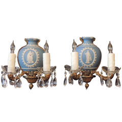 Early 20th C English Wedgwood and Bronze Sconces