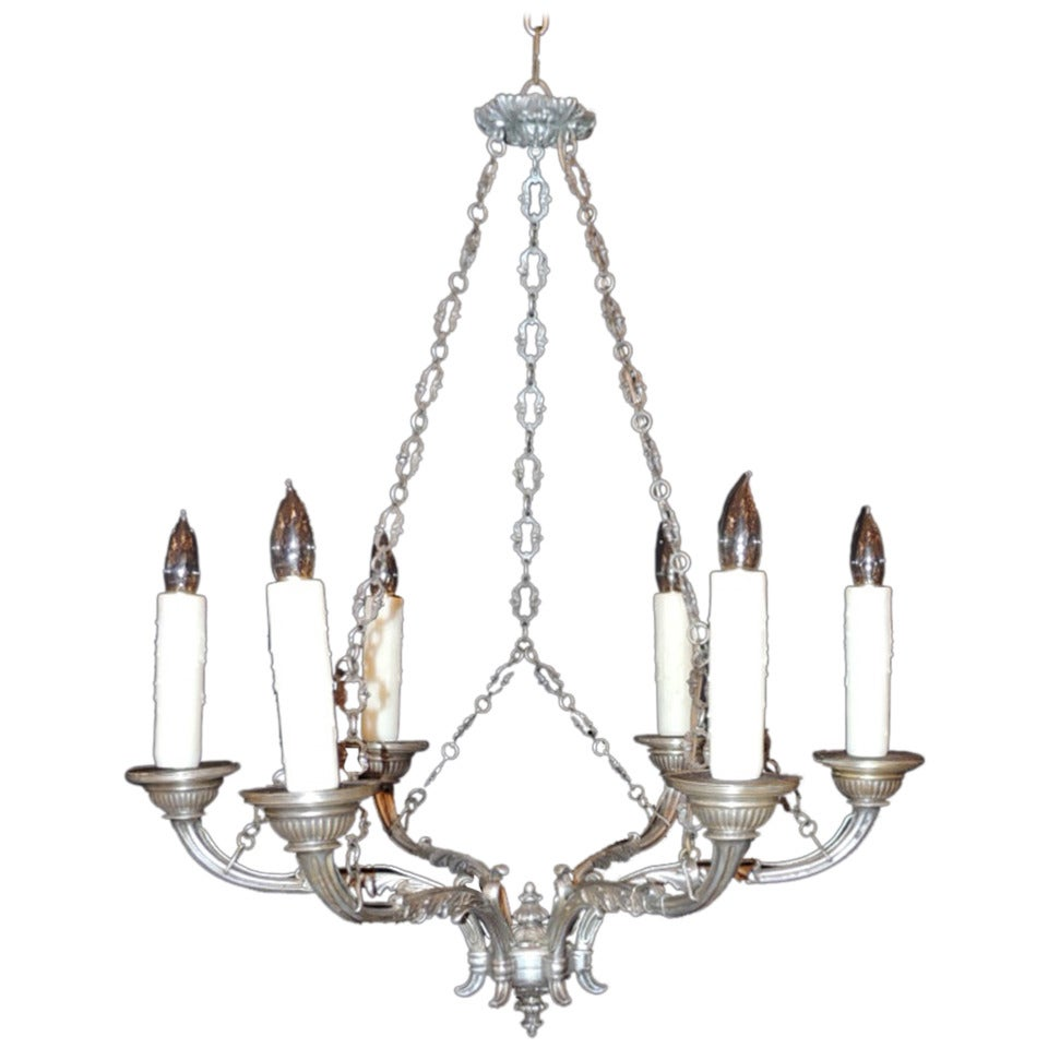 Late 18th C Italian Baroque Nickeled Bronze Chandelier For Sale
