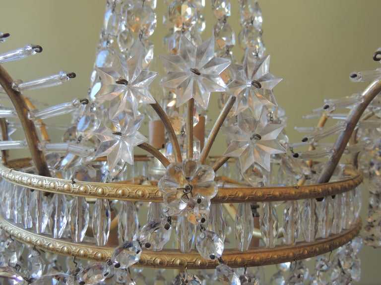 Baltic Early 20th C French Bronze and Crystal Chandelier For Sale