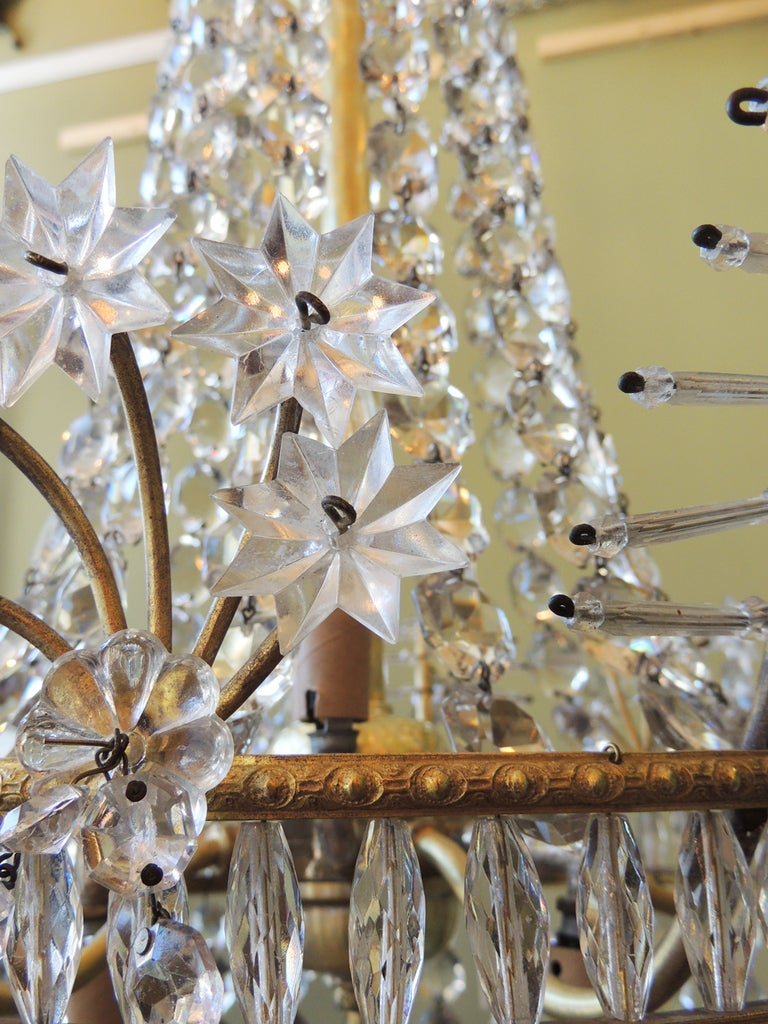 20th Century Early 20th C French Bronze and Crystal Chandelier For Sale