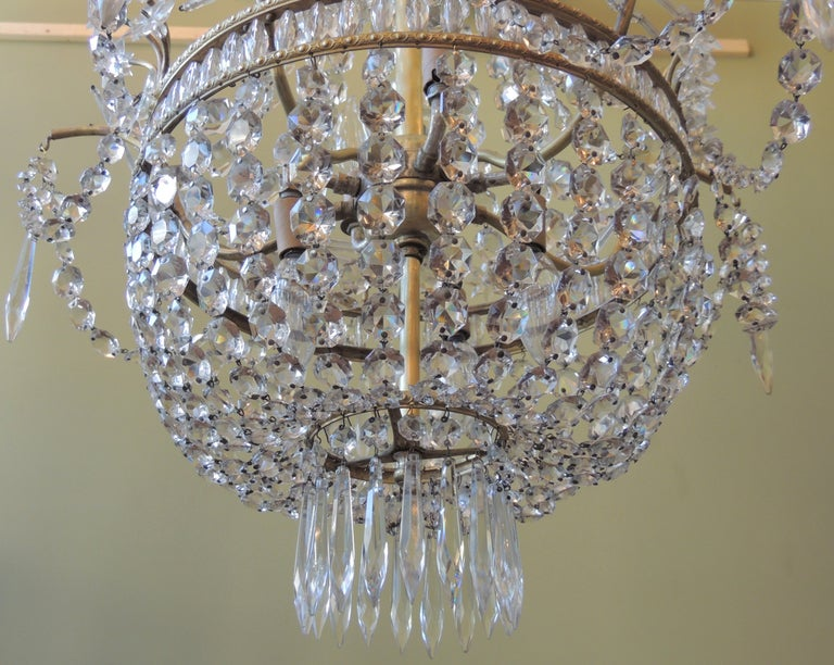 Early 20th C French Bronze and Crystal Chandelier For Sale 1