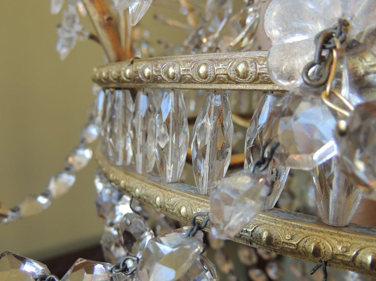 Early 20th C French Bronze and Crystal Chandelier For Sale 3