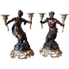 Pair of 18th Century French Patinated Bronze Candelabra