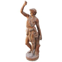19th Century English Hercules Terracotta Statue Stamped 'Philips V. S. Mare'