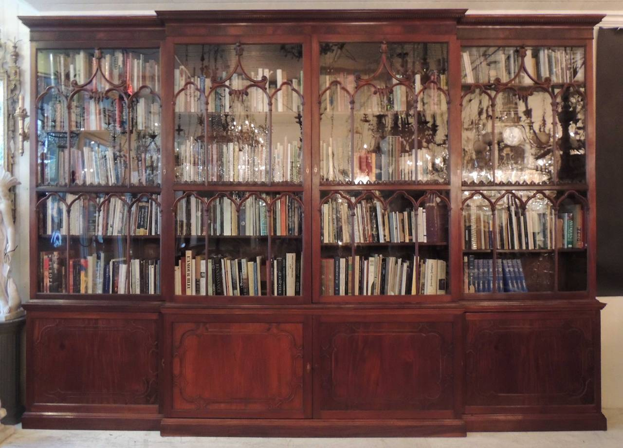 Monumental 19th Century English Chippendale Mahogany Breakfront Bookcase For Sale At 1stdibs