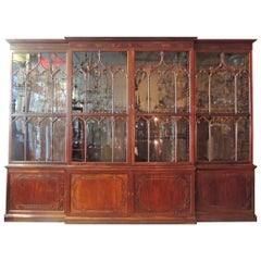 Monumental 19th Century Irish Chippendale Mahogany Breakfront Bookcase