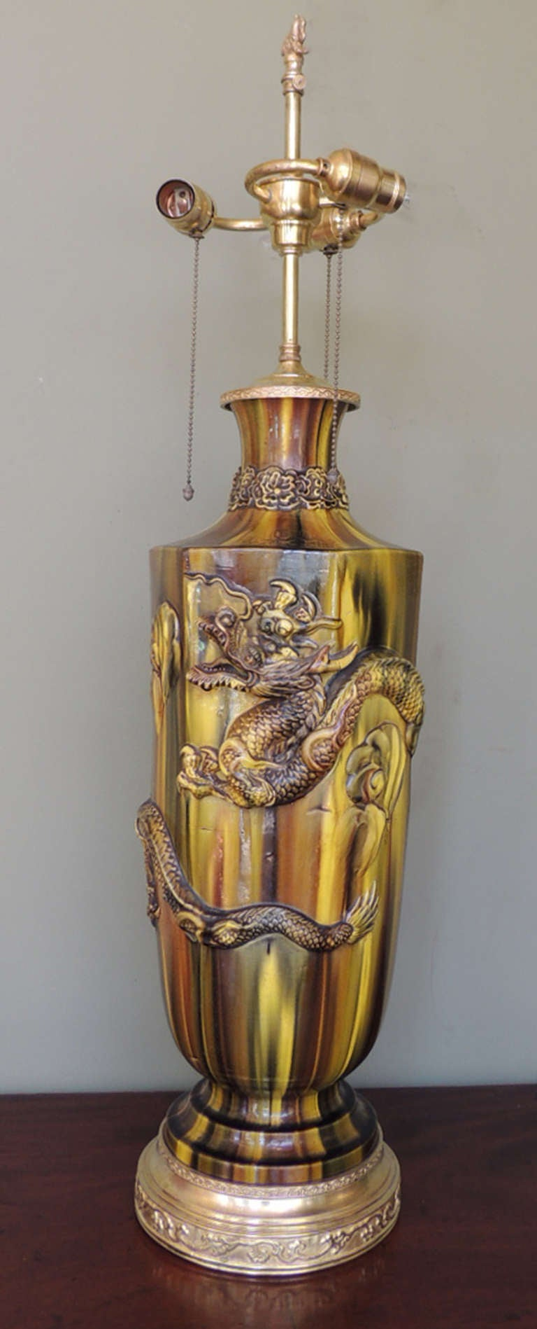 19th C Chinese Glazed Ceramic Lamp For Sale At 1stdibs