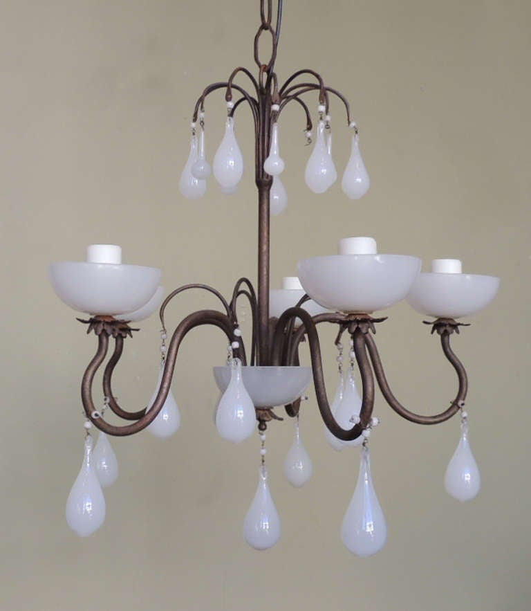 20th C American Milk Glass and Brass Chandelier at 1stdibs