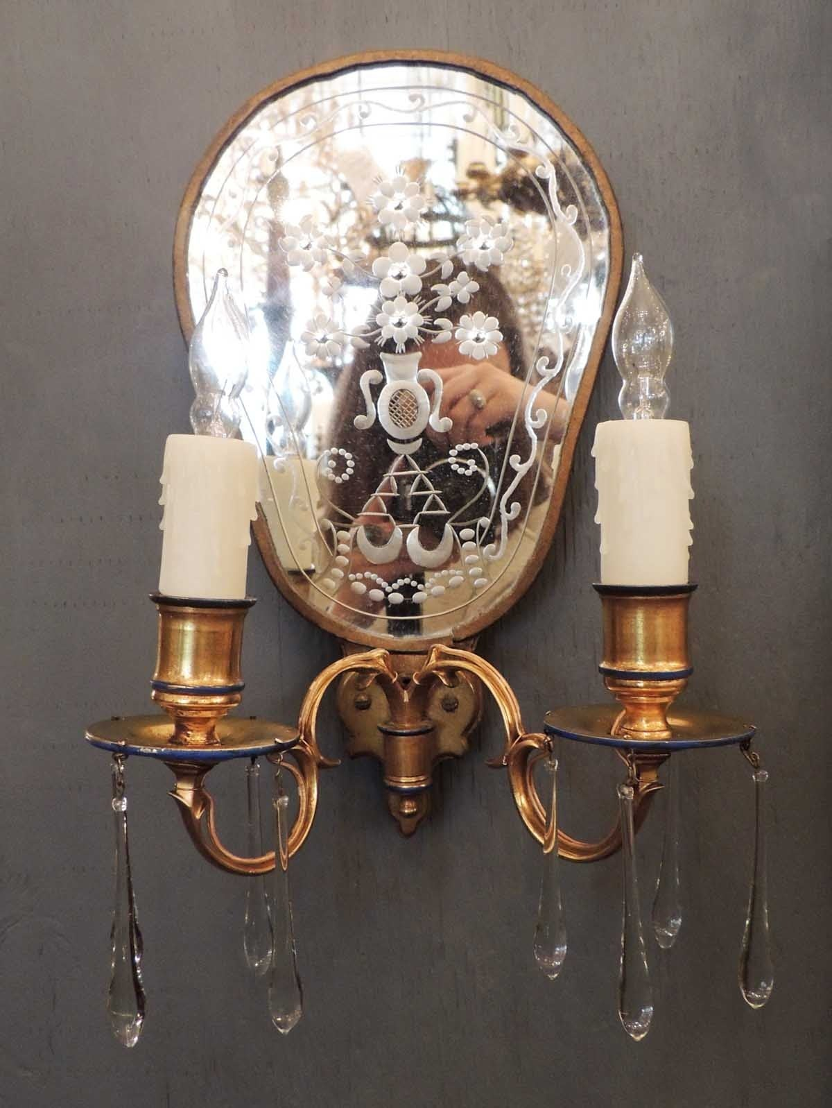 Early 20th c american bronze dore and etched mirrored - Early american exterior lighting ...