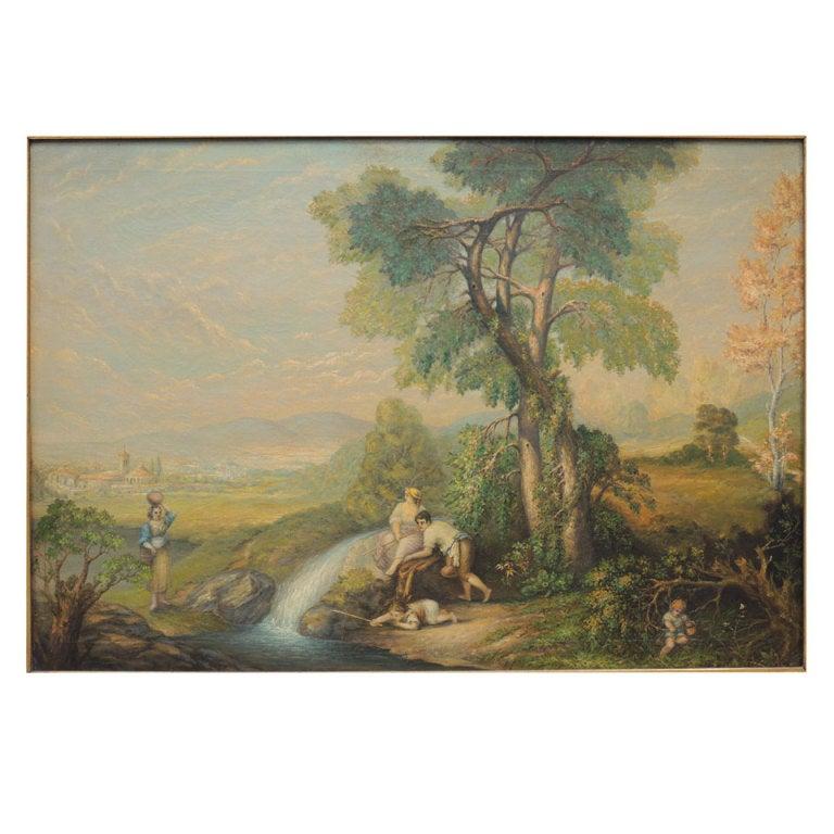 Late 19th C Italian Oil on Canvas by Arthur Bray