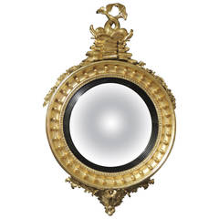 19th Century American or English Convex Gilt Mirror