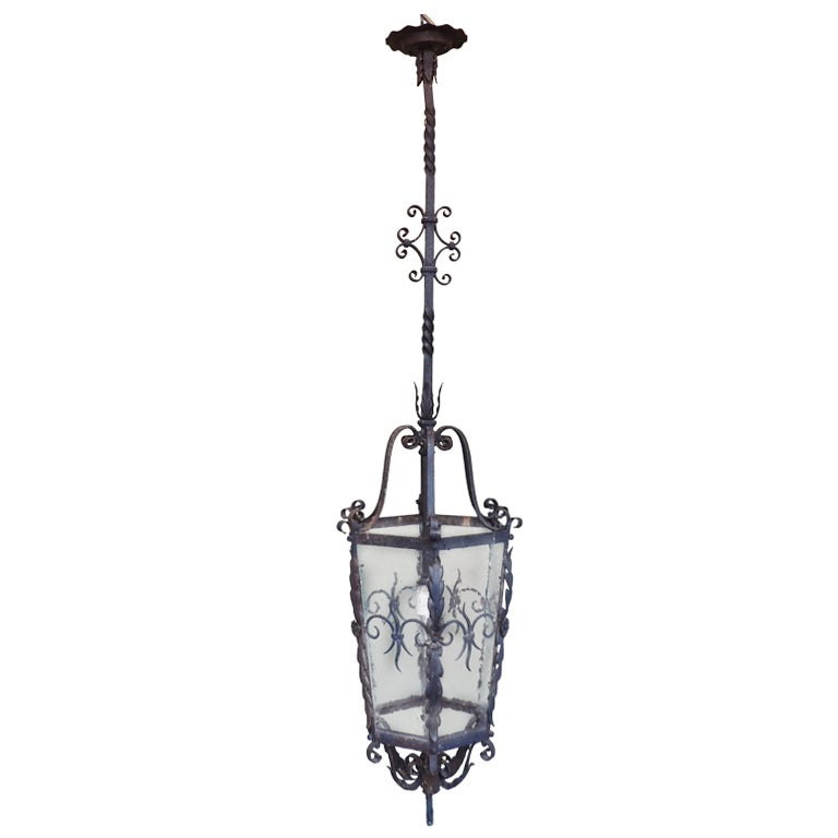 Late 19th Century French Gothic Hand-Wrought Iron Lantern