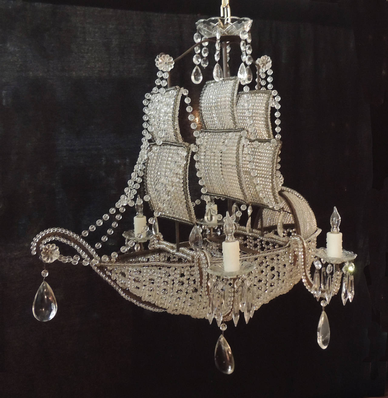 Early 1900s venetian crystal iron and tole ship chandelier at 1stdibs this chandelier a ming dynasty junk ship design was created in the early half aloadofball Images