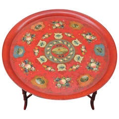 19th Century French Tray Top Table Depicting Caribbean Scenes