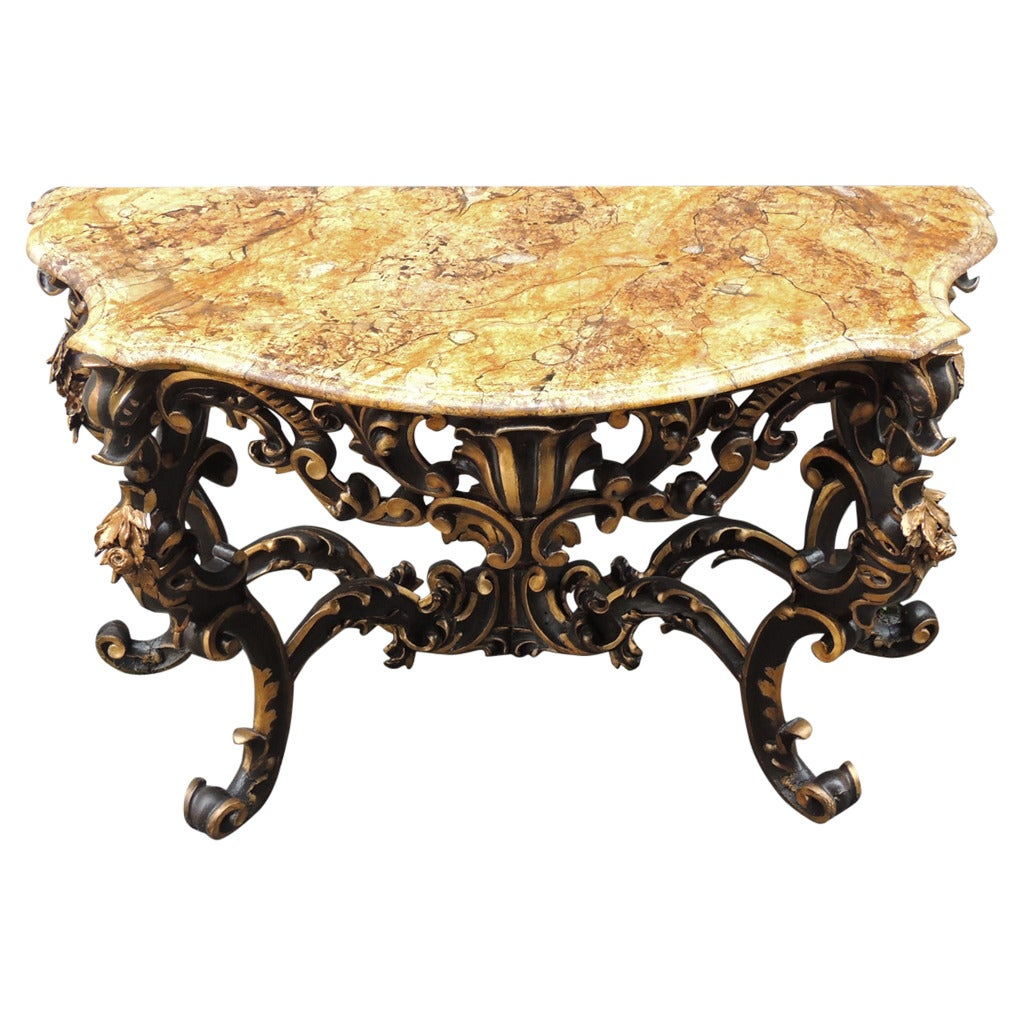 Wonderful Late 17th C Faux Marble Venetian Console Table For Sale