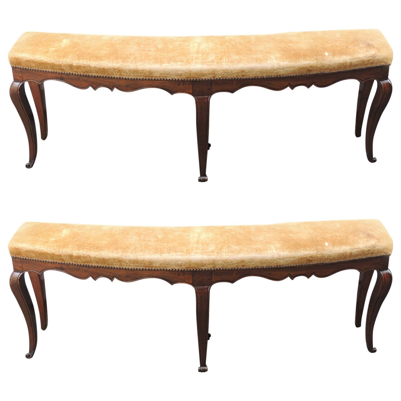 Pair of 18th and 19th C Italian Curved Walnut Velvet Benches For Sale
