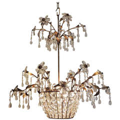 Mid 20th C French Iron and Crystal Chandelier, attributed to Maison Bagues