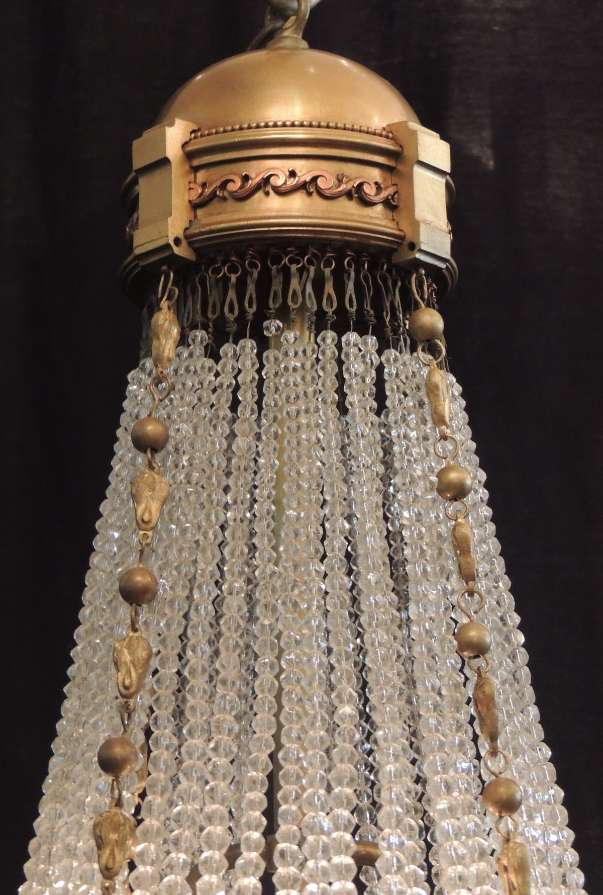 Early 20th C French Empire Style Crystal Chandelier For Sale at