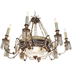 Late 19th C French Empire Bronze and Crystal Chandelier