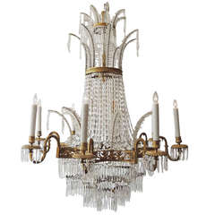 Late 19th Century Russian Empire Bronze and Crystal Chandelier