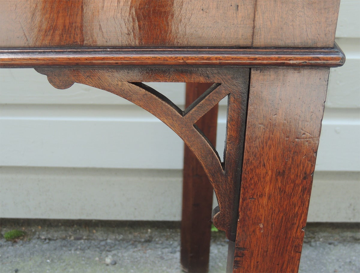Marble 18th Century English Chippendale Mahogany Slab Table For Sale