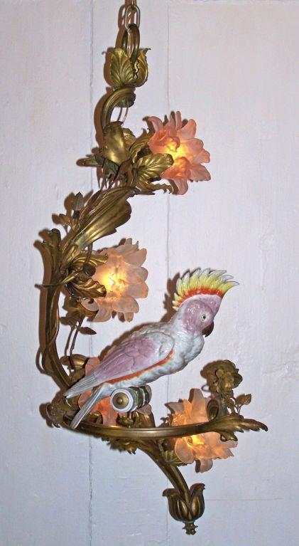 Late 19th C Italian Bronze Chandelier with Porcelain Cockatoo Bird 2