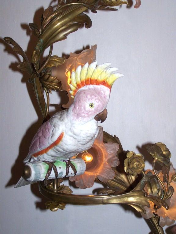 Late 19th C Italian Bronze Chandelier with Porcelain Cockatoo Bird 3