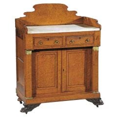 19th C Philadelphia Empire Birds Eye Maple Washstand with Bronze