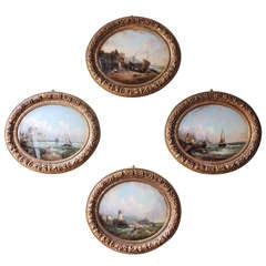 Set of Four 1840s French Coastal Scenes