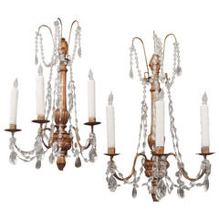 Pair of Early 19th C Genoese Crystal and Wood Gilt Sconces