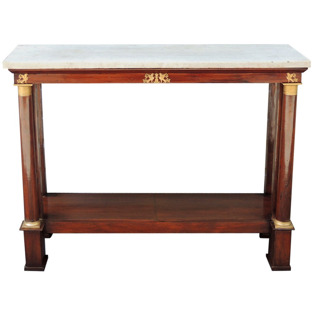 Late 18th c french empire mahogany and marble console table for late 18th c french empire mahogany and marble console table 1 geotapseo Choice Image
