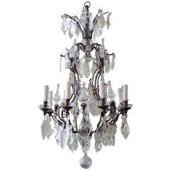 Early 20th Century French Crystal and Bronze Chandelier