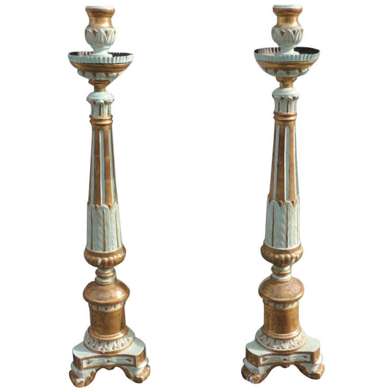 Pair of 18th C Italian Pricket Sticks