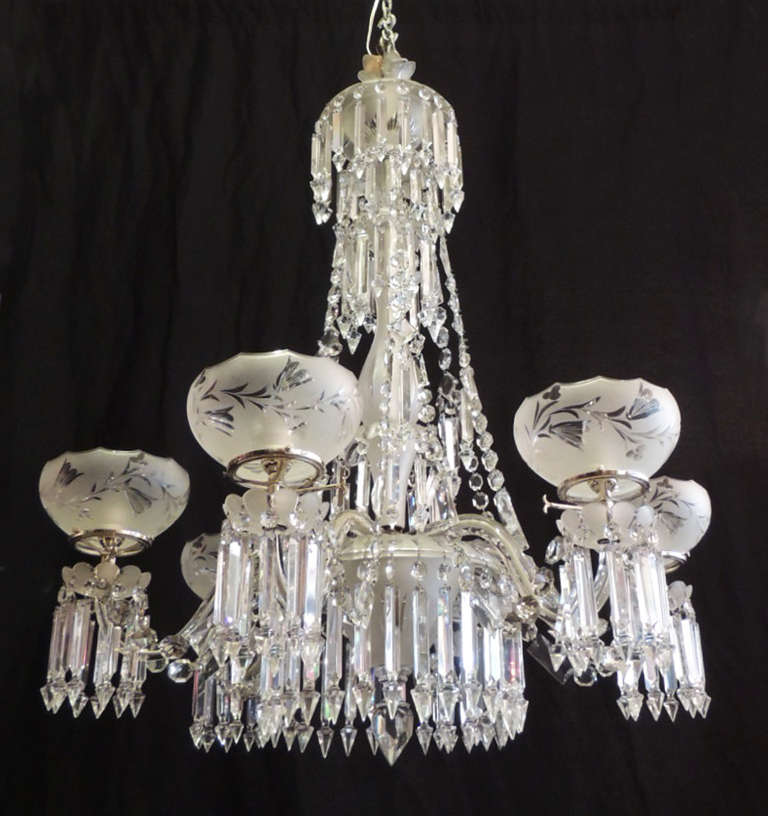 19th C English Crystal and Silver Plate Chandelier 3 - 19th C English Crystal And Silver Plate Chandelier For Sale At 1stdibs