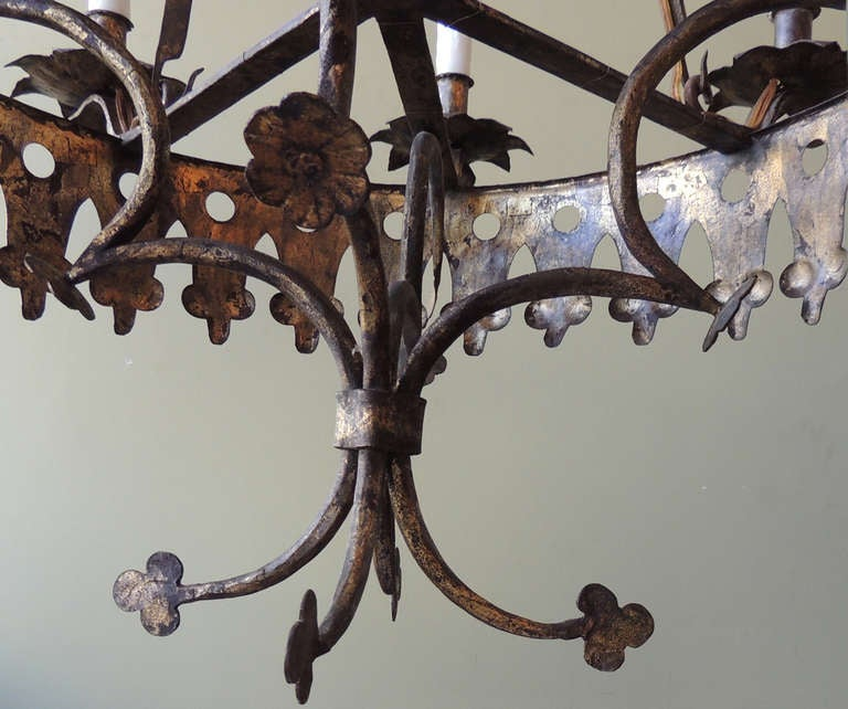 20th Century Early 20th C Spanish Gilt and Iron Chandelier For Sale