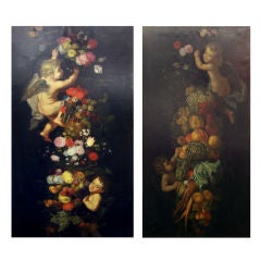 Large 19th C Pair of Two Still Life Paintings with Putti