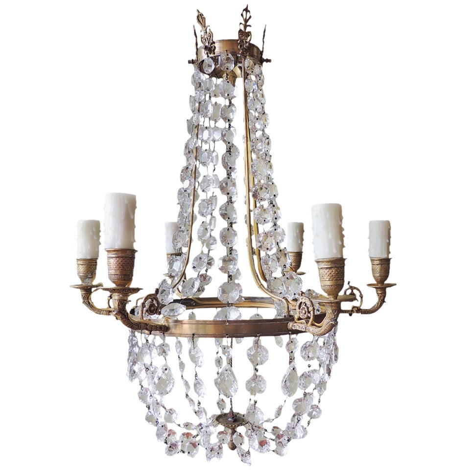 Late 18th C English Regency Crystal and Brass Chandelier