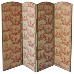 "19th C French Rococo ""Toile de Jouy"" Chinoiserie Screen"
