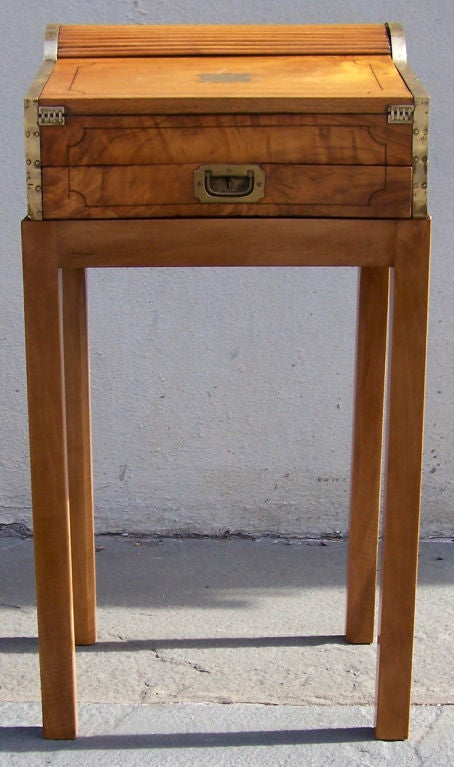 19th C China Trade Roll Top Lap Desk On Stand For Sale At