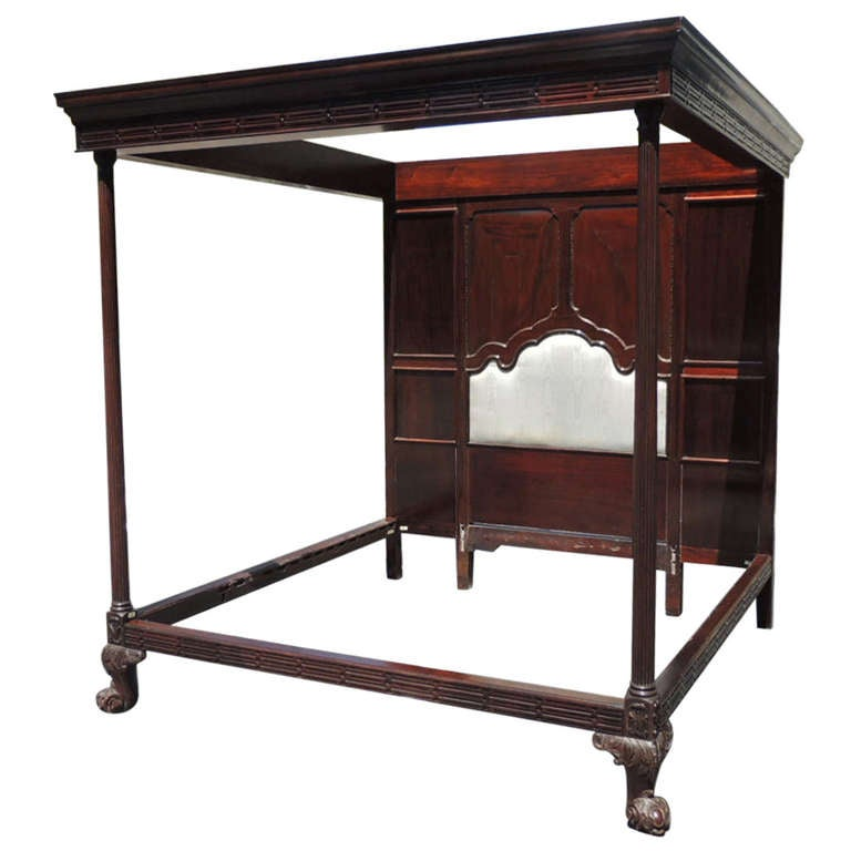 Th Century Irish Mahogany King Size Four Poster Bed For Sale At - Mahogany furniture