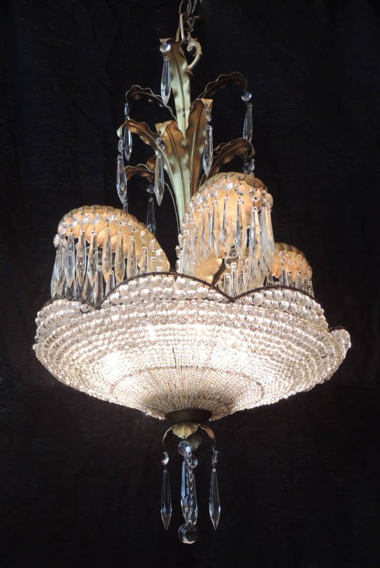 Early 20th Century Bronze And Crystal Palm Chandelier Att
